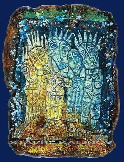 Чудатите фигури на картините изработени от стъкло са отличителни за творчеството на Калинов